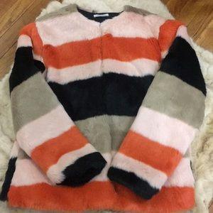 Zara Striped Faux Fur Coat